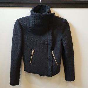 Juicy couture cropped black wool jacket size s